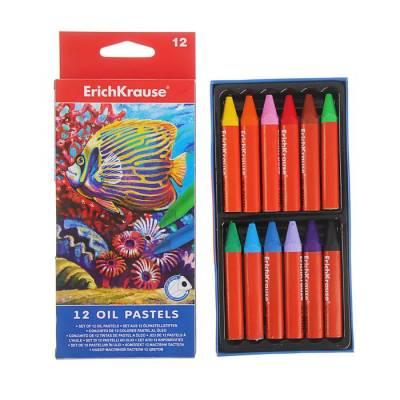 Пастель масляная 12 цветов Erich Krause, состав на основе пчелиного воска и минеральных масел Erich Krause