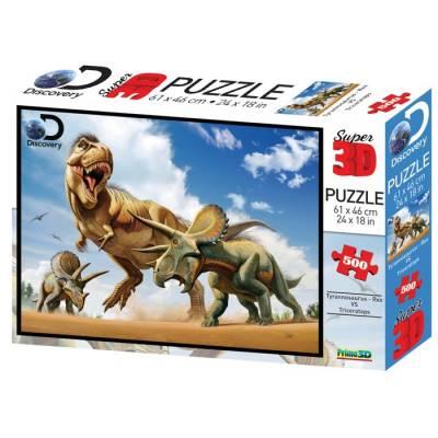 3D Пазл 500 элементов «Тираннозавр против трицератопса» Sima-Land