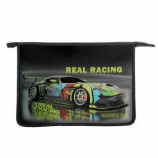 Папка для труда А4 Real Racing, молния сверху, эффект металлик, 3D объёмный рисунок, 81Тр45 Канцбург
