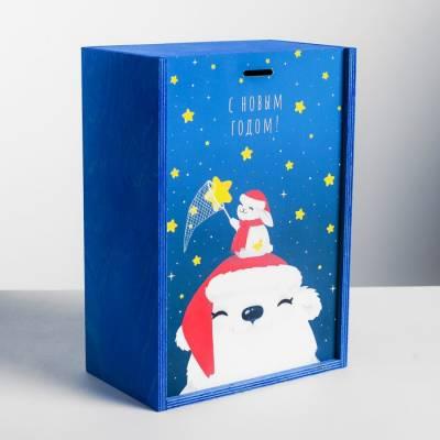 Ящик подарочный деревянный «Полярный мишка», 20 × 30 × 12 см Sima-Land