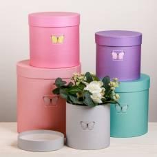 Набор круглых подарочных коробок 5 в 1 «Бабочки», 23 × 23 × 25 ‒ 15 × 15 × 15 см Sima-Land