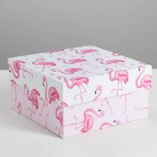 Коробка квадратная «Розовый фламинго», 16 × 16 × 8.5 см Sima-Land