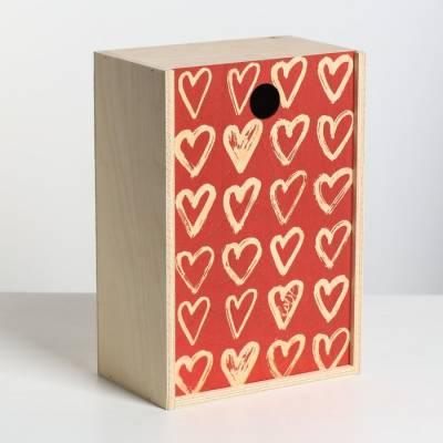 Ящик подарочный деревянный «Сердца», 20 × 30 × 12 см Sima-Land