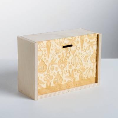 Ящик подарочный деревянный «Счастливого Нового года», 20 × 14 × 8 см Sima-Land