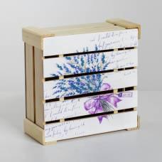 Коробка деревянная подарочная «Букет лаванды», 20 × 20 × 10 см Sima-Land