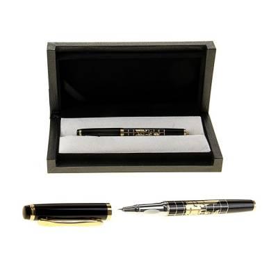 Ручка подарочная, перьевая, в кожзам футляре, чёрно-золотая, «Карта» Calligrata