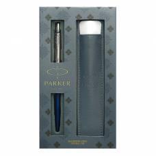 Набор: ручка шариковая автоматическая Parker Jotter Core K63 (2020374) Royal Blue CT, чёрный стержень + чехол Parker