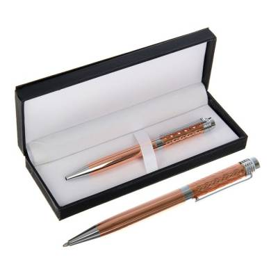 Ручка подарочная, шариковая, в кожзам футляре, поворотная, VIP корпус, золотисто-серебряный корпус Calligrata