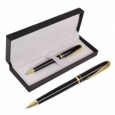 Ручка подарочная шариковая в кожзам футляре поворотная Черная с золотом Calligrata