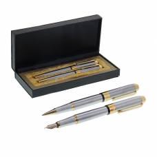 Набор подарочных ручек, 2 штуки: перьевая, капиллярная, в кожзам футляре, «Платина», серебристая с золотистыми вставками Calligrata