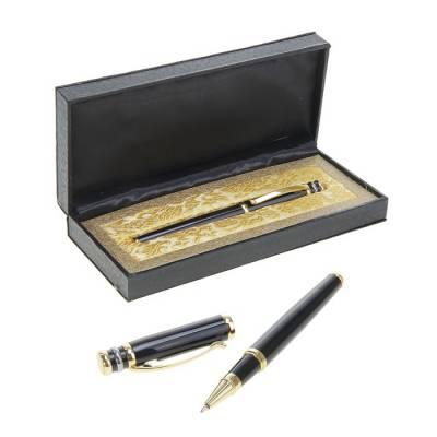 Ручка капиллярная, подарочная, в кожзам футляре, «Профи», чёрная с золотом Calligrata