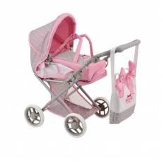 Классическая коляска для куклы Bambolina Boutique с сумкой, средняя Dimian