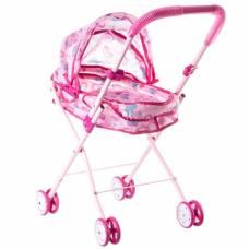 Металлическая коляска-люлька для кукол со складной крышей и фиксаторами Yako Toys
