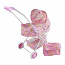 Коляска-люлька Единорог с корзиной и сумкой, металл, пакет Наша игрушка