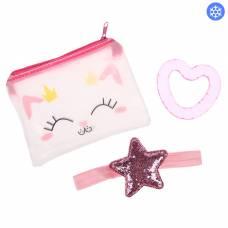 Детский набор «Для Малышки», 3 предмета: повязка на голову, прорезыватель охлаждающий, сумочка Крошка Я