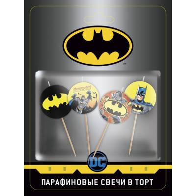 Batman. Парафиновые свечи в торт, 4 шт, в блистере НД плэй / ND PLAY