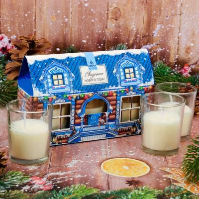 Набор новогодних свечей 3 шт, Новогодний терем Sima-Land