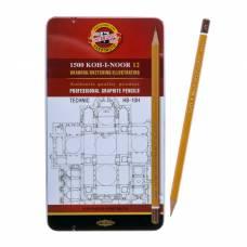 Карандаши Koh-I-Noor 1502/I «Техник» чёрнографитные разной твердости , HB-10H, в металлическом пенале Koh-i-Noor