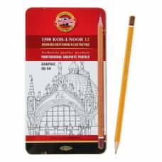 Набор чёрнографитных карандашей Koh-I-Noor 1502/III «График» разной твердости, 12 штук 5B-5H, металлический короб Koh-i-Noor