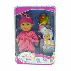 Пупс Tiny Tots Baby в розовом халате с аксессуарами (пьет, писает), 23 см Shantou Gepai