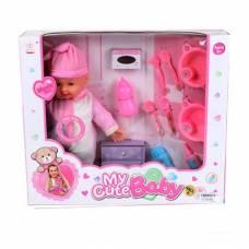 Мягконабивной пупс в розовом костюме (звук), 35 см  Shantou