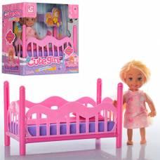 Игровой набор Cute Girl - Кукла с кроваткой, 11.5 см