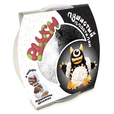 Пушистый пластилин Plush, черно-белый Волшебный мир