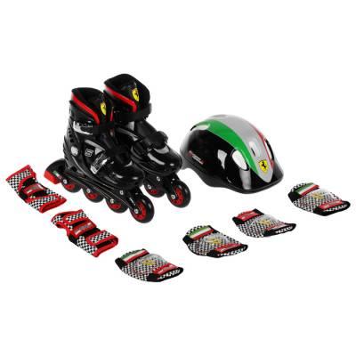 Набор роликовые коньки+Защита FERRARI р 33-36, колеса PU, ABEC 5, цвет черный Ferrari