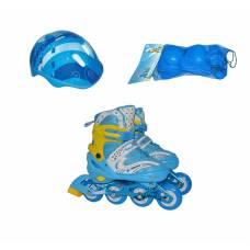 Раздвижные роликовые коньки с комплектом защиты (свет), р. 38-41, голубые  Navigator