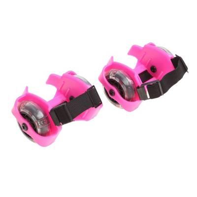 Ролики для обуви раздвижные мини, колеса световые РVC d=70 мм, ширина 6-10 см, до 70 кг, цвет розовый Sima-Land