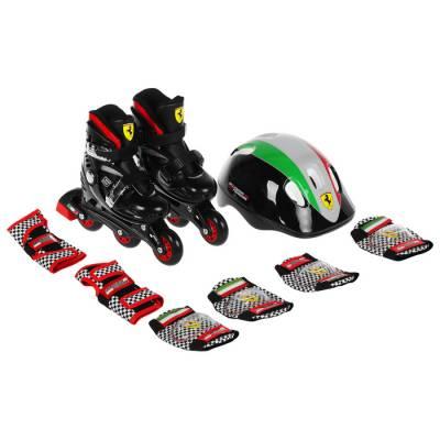 Набор роликовые коньки+Защита FERRARI р 29-32, колеса PU, ABEC 5, цвет черный Ferrari
