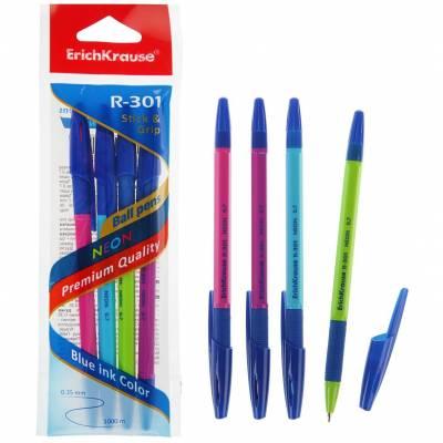 Набор из 4 шариковых ручек R-301 Stick&Grip - Neon, синие, 0.7 мм Erich Krause
