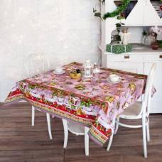 Скатерть рогожка Дед Мороз 145х145 см, розовый, хлопок 100%, 160 г/м2 Традиция