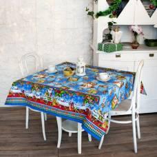Скатерть рогожка Дед Мороз 145х180 см, голубой, хлопок 100%, 160 г/м2 Традиция