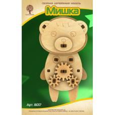 Модель деревянная сборная с шестерёнками. Мишка Wooden Toys / Чудо-Дерево