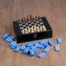 Набор шахмат с домино, костяшка синяя 5,3 × 2,7 см, пешка 4.5 см, ферзь 9 см Sima-Land