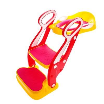 Накладка на унитаз детская со ступенькой и подножкой, с мягким сиденьем, жёлтый/розовый Sima-Land