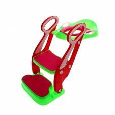 Накладка на унитаз детская со ступенькой и подножкой, с мягким сиденьем, цвет зелёный/красный Sima-Land