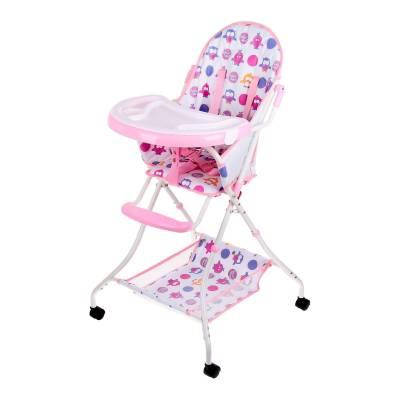 Стульчик для кормления на колесиках, розовый