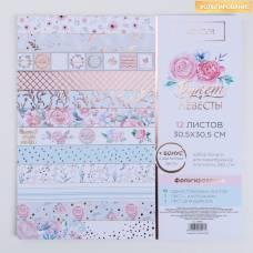 Набор бумаги для скрапбукинга с фольгированием «Букет невесты», 12 листов, 30.5 × 30.5 см Арт Узор
