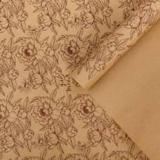 Бумага крафтовая бурая в рулоне «Цветы», 0.68 × 8 м Sima-Land