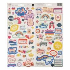 Стикеры из кардстока Pink Paislee - Коллекция «WILD CHILD. GIRL»  79 шт Pink Paislee