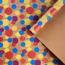Бумага крафтовая бурая в рулоне «С Днём рождения», 0.68 × 8 м Sima-Land