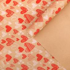 Бумага крафтовая бурая в рулоне «Сердечки», 0.68 × 8 м Sima-Land