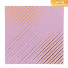 Бумага для скрапбукинга с фольгированием «Полоски», 10 листов, 15.5 × 15.5 см, 250 г/м Арт Узор