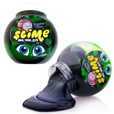 Лизун Slime Mega Mix, черно-зеленый, 500 гр. Волшебный мир