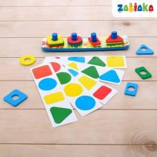 Логическая пирамидка «Цвета и формы», карточки с заданиями, материал EVA Забияка
