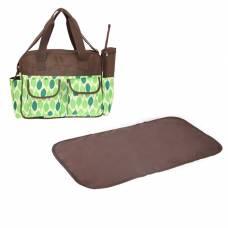 Сумка для мамы и малыша, с ковриком для пеленания и чехлом для бутылочки, цвет зелёный/коричневый Sima-Land