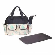 Сумка для мамы и малыша, с ковриком для пеленания и чехлом для бутылочки, цвет чёрный, рисунок паруса Sima-Land