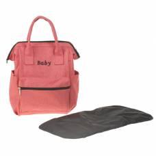 Рюкзак женский, для мамы и малыша, с ковриком для пеленания, цвет красный Sima-Land